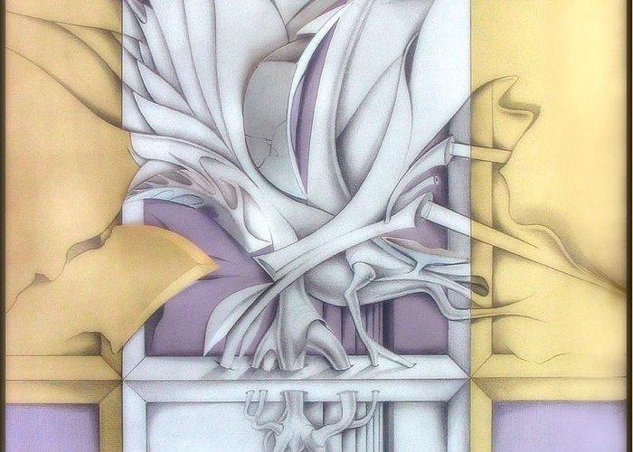Twigs Greeting Card featuring the drawing Organicomp 1991 by Glenn Bautista