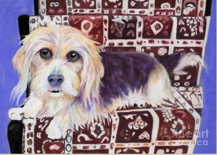 Lapdog Greeting Card featuring the pastel Oriental Toy by Pat Saunders-White