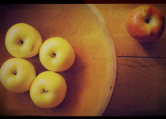 Apples Greeting Card featuring the photograph Out Of The Bowl by Toni Hopper