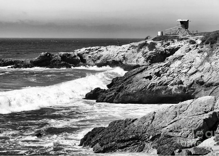 Pacific Lifeguard View Greeting Card featuring the photograph Pacific Lifeguard View In Bw by John Rizzuto
