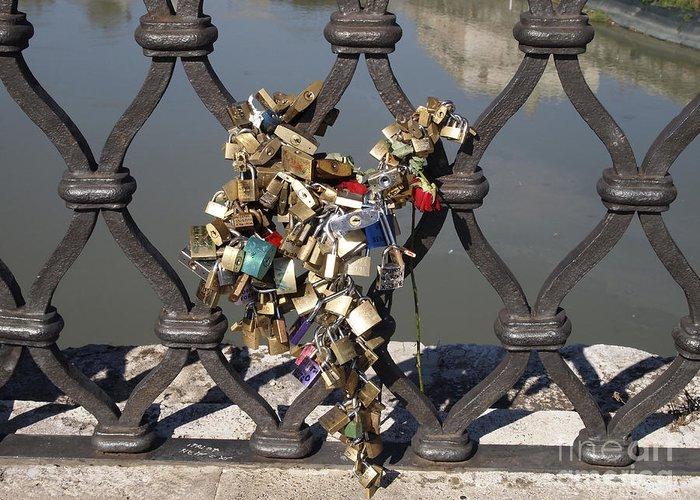 Writings Greeting Card featuring the photograph Padlocks On Bridge. Rome by Bernard Jaubert