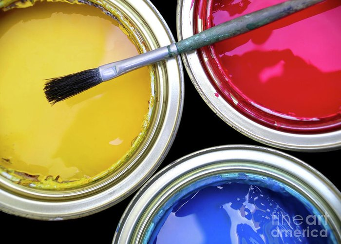 Art Greeting Card featuring the photograph Paint Cans by Carlos Caetano