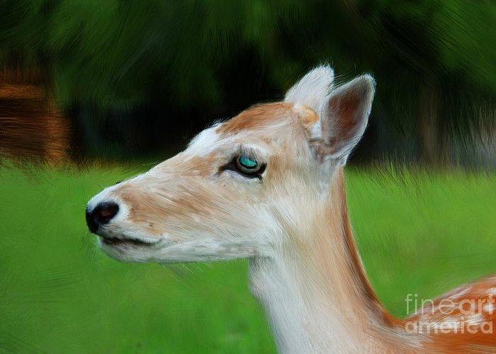 Painted Deer Greeting Card featuring the digital art Painted Deer by Mariola Bitner