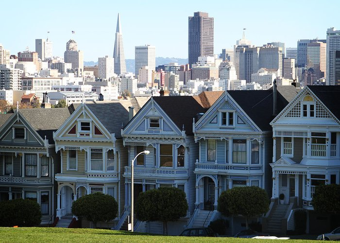 San Francisco Greeting Card featuring the photograph Painted Ladies by Linda Woods