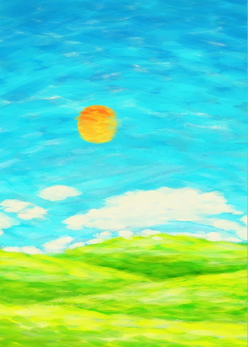 Art Greeting Card featuring the painting Painting Of Nature In Spring And Summer by Setsiri Silapasuwanchai