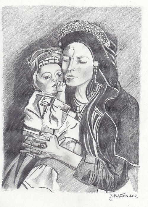 Pakistan Greeting Card featuring the drawing Pakistani Mother And Child by John Keaton