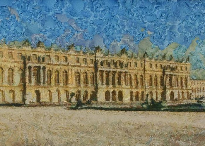 Palace Of Versailles Greeting Card featuring the painting Palace Of Versailles by Aaron Stokes