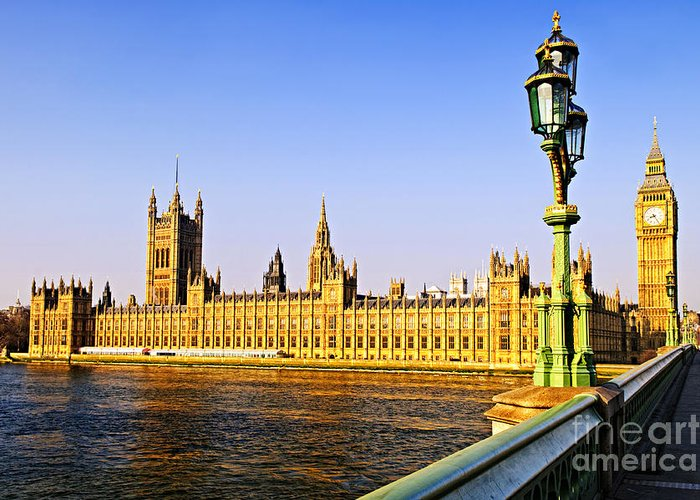 Palace Greeting Card featuring the photograph Palace Of Westminster From Bridge by Elena Elisseeva