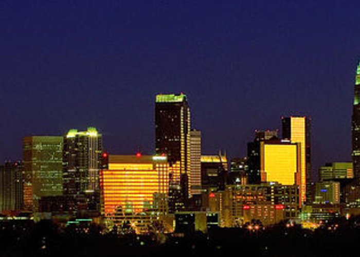 Charlotte Greeting Card featuring the photograph Panoramic Charlotte Nc Skyline by Patrick Schneider