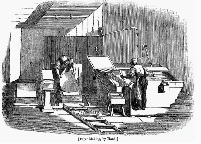 1833 Greeting Card featuring the photograph Papermaking, 1833 by Granger