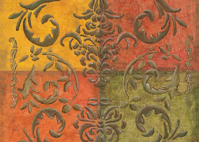 Transitional Greeting Card featuring the painting Paprika Scroll by Debbie DeWitt