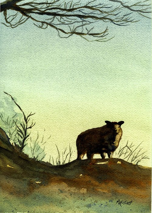 Sheep Greeting Card featuring the painting Parable Of The Lost Sheep by Marsha Elliott