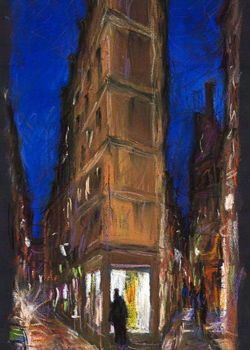 Europe Greeting Card featuring the pastel Paris Street 2 by Yuriy Shevchuk