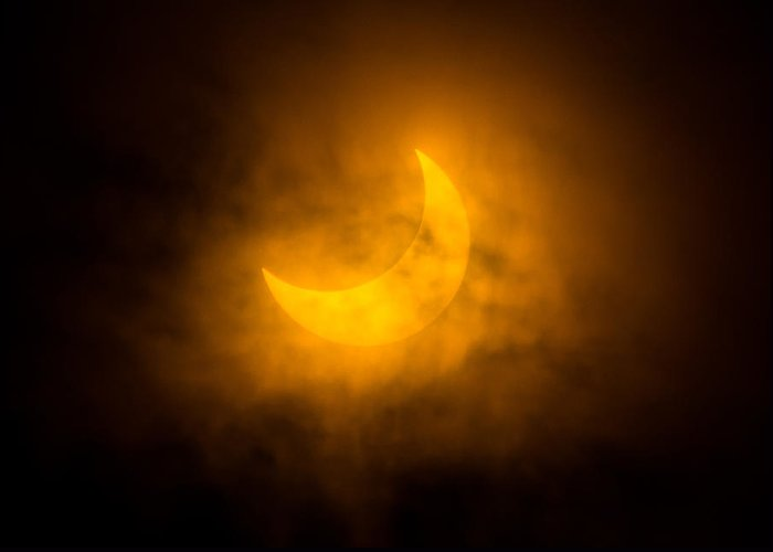 Solar Eclipse Greeting Card featuring the photograph Partial Solar Eclipse Through Fog by Greg Nyquist