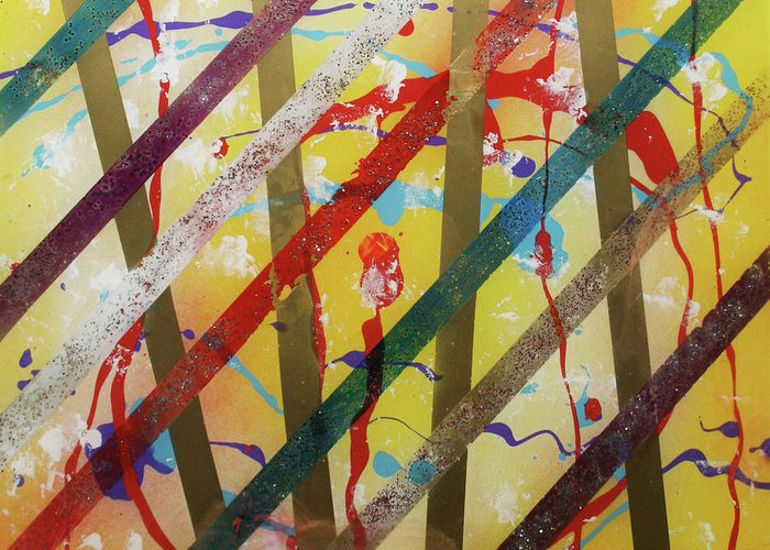 Party Greeting Card featuring the painting Party - Stripes 2 by Mordecai Colodner