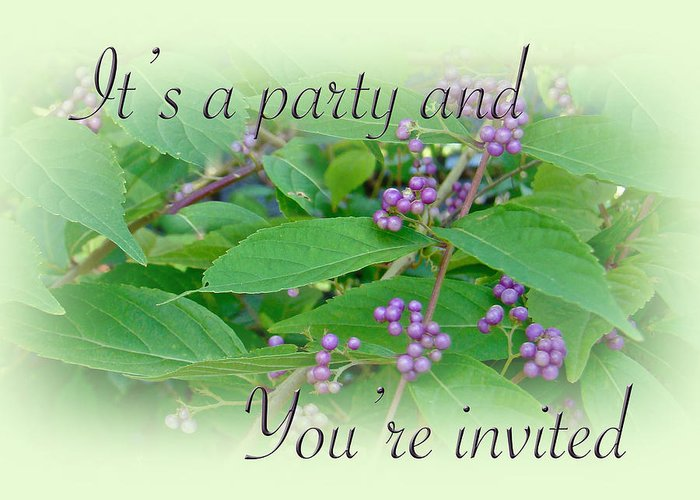 Party Greeting Card featuring the photograph Party Invitation - General - American Beautyberry Shrub by Mother Nature