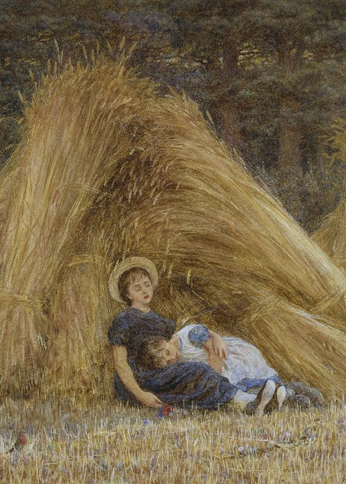 British Greeting Card featuring the painting Past Work by Helen Allingham