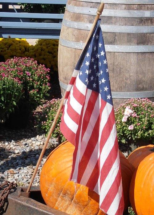 Flag Greeting Card featuring the photograph Patriotic Farm Stand by Kimberly Perry
