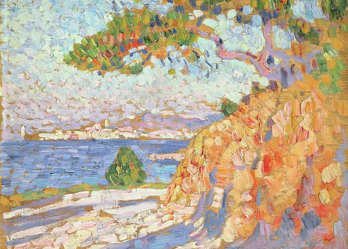 French Landscape Greeting Card featuring the painting Paysage Du Midi by Theo van Rysselberghe
