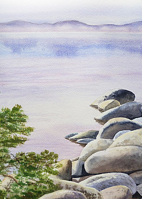 Affirmation Greeting Card featuring the painting Peaceful Place Morning At The Lake by Irina Sztukowski
