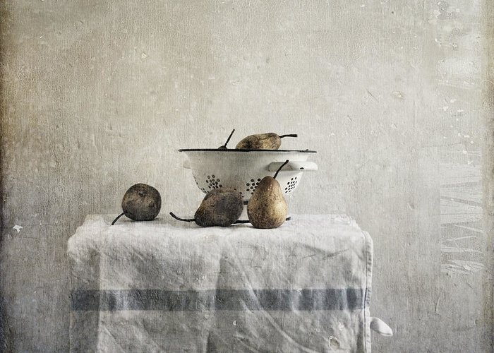 Pears Under Grunge Textures Greeting Card featuring the photograph Pears Under Grunge by Paul Grand