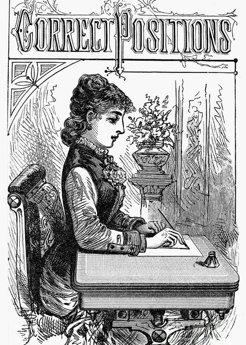 1880 Greeting Card featuring the photograph Penmanship Manual, C1880 by Granger