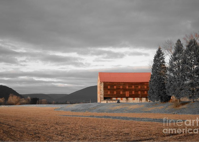 Red Barn Greeting Card featuring the pyrography Pennsylvania Barn by Randy Edwards