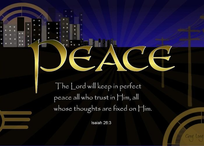 Greeting Card featuring the digital art Perfect Peace by Greg Long