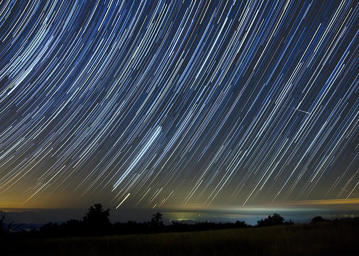 Startrails Greeting Card featuring the photograph Perseid Smoky Mountain Startrails by Daniel Lowe