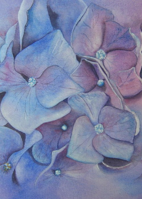 Close Focus Floral Greeting Card featuring the painting Petals by Patsy Sharpe