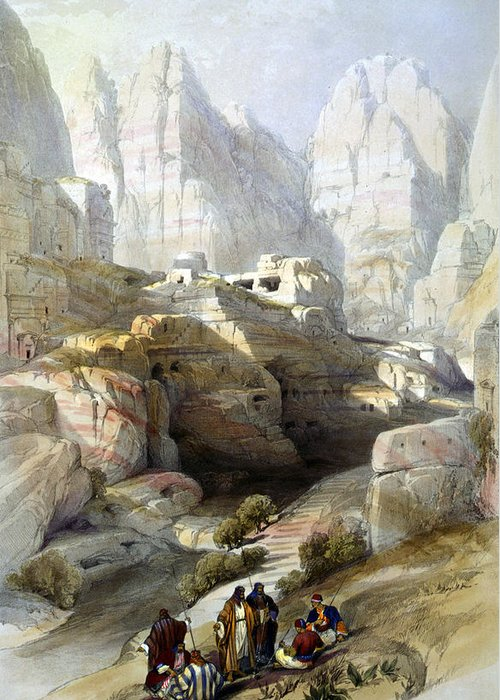 Petra Greeting Card featuring the photograph Petra March 10th 1839 by Munir Alawi