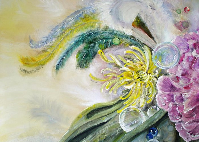 Feathers Greeting Card featuring the painting Phantasia by Stephanie Koehl
