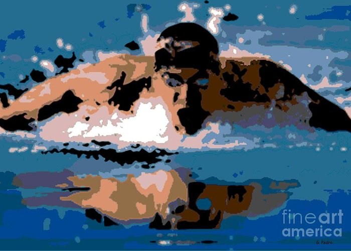 Michael Phelps Greeting Card featuring the photograph Phelps 1 by George Pedro