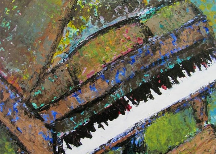Music Greeting Card featuring the painting Piano Aqua Wall - Cropped by Anita Burgermeister