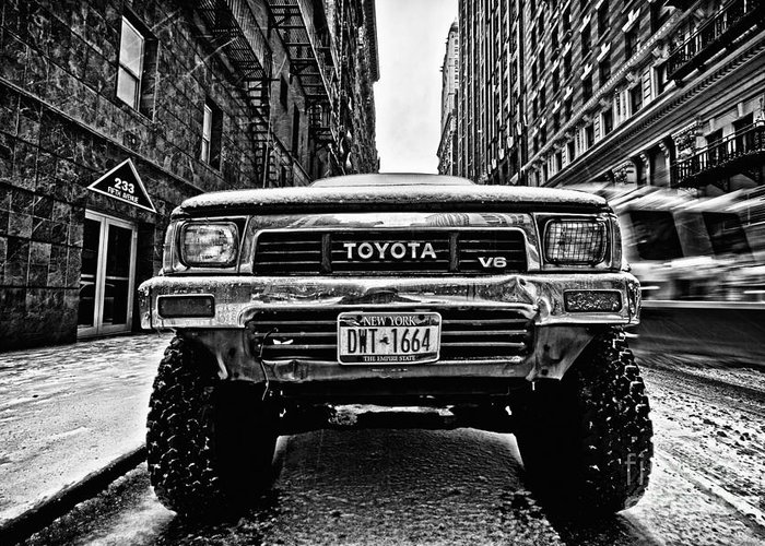 Cold Greeting Card featuring the photograph Pick Up Truck On A New York Street by John Farnan