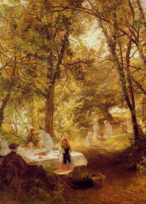 Our Picnic - New Lock Greeting Card featuring the painting Picnic by Charles James Lewis