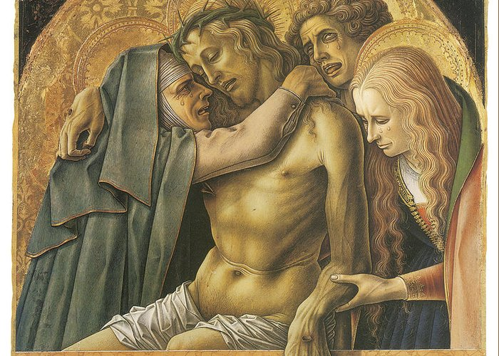 Carlo Crivelli Greeting Card featuring the painting Pieta by Carlo Crivelli