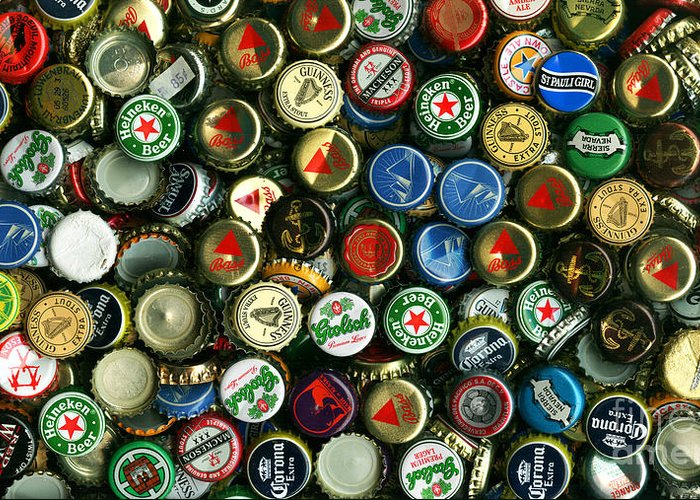 Long Greeting Card featuring the photograph Pile Of Beer Bottle Caps . 9 To 16 Proportion by Wingsdomain Art and Photography
