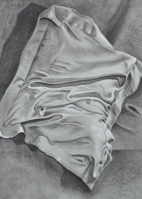 Pillow Still Life In Human Pose Greeting Card featuring the drawing Pillow Talk by Patsy Sharpe