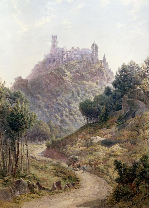 Fortress; Castle; Hilltop; Strategic Position; Forest; Palace; Road Greeting Card featuring the painting Pina Cintra Summer Home Of The King Of Portugal by George Leonard Lewis