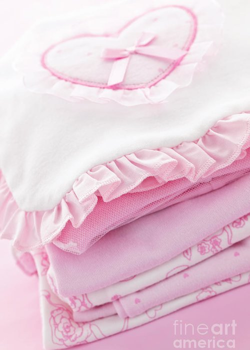 Baby Clothes Greeting Card featuring the photograph Pink Baby Clothes For Infant Girl by Elena Elisseeva