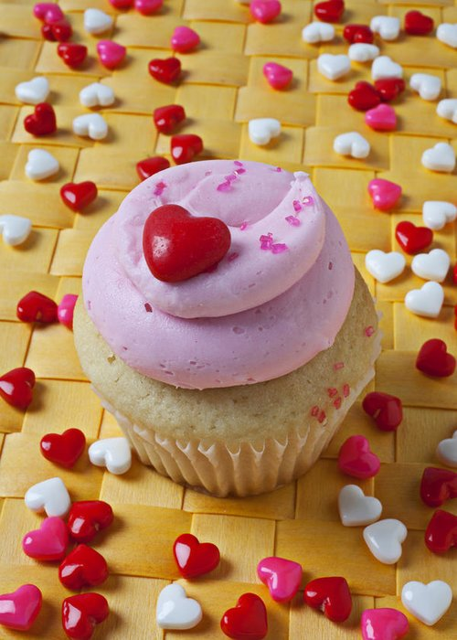 Cupcake Greeting Card featuring the photograph Pink Cupcake With Candy Hearts by Garry Gay