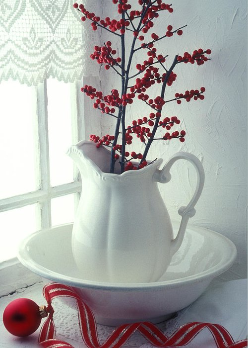 Christmas Greeting Card featuring the photograph Pitcher With Red Berries by Garry Gay