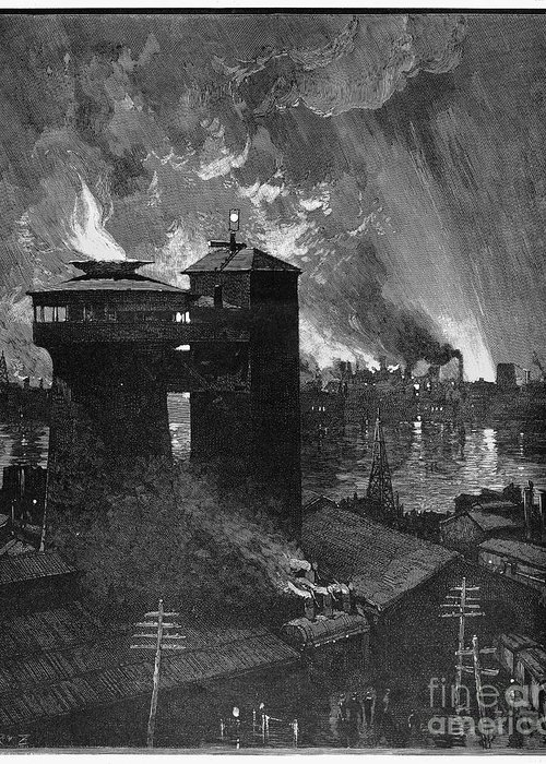 1885 Greeting Card featuring the photograph Pittsburgh: Blast Furnaces by Granger
