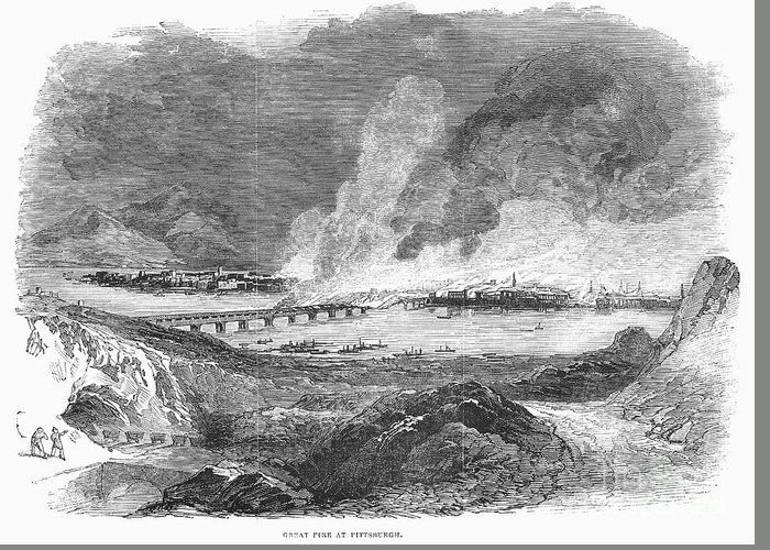 1845 Greeting Card featuring the photograph Pittsburgh: Fire, 1845 by Granger