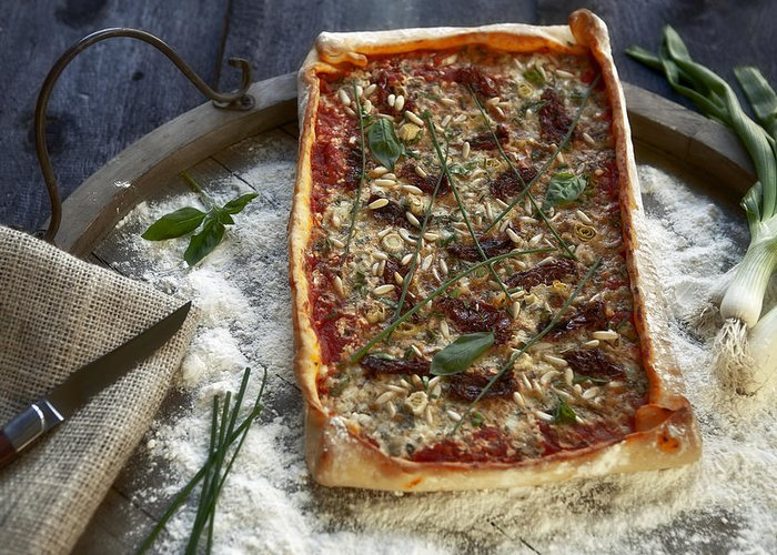 Herbs Greeting Card featuring the photograph Pizza With Herbs by Joana Kruse