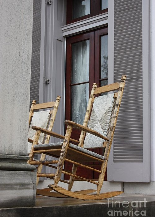 Rocking Chairs Greeting Card featuring the photograph Plantation Rocking Chairs by Carol Groenen