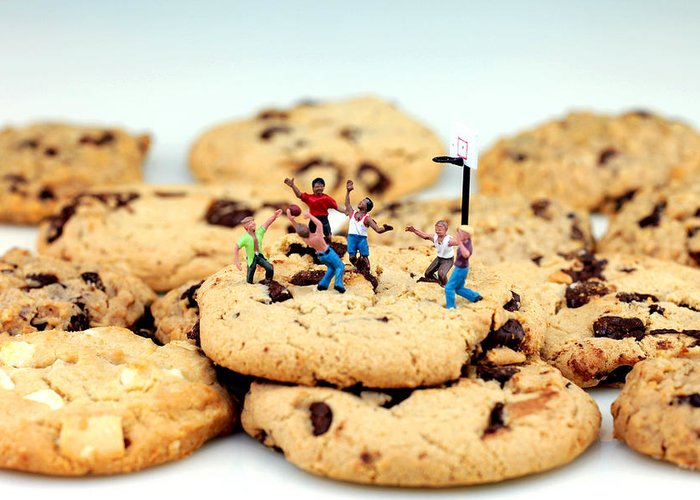 Play Greeting Card featuring the photograph Playing Basketball On Cookies by Paul Ge