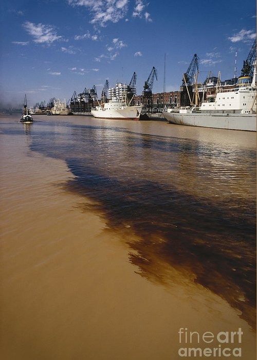 Nature Greeting Card featuring the photograph Polluted Water, Rio De La Plata by Bernard Wolff