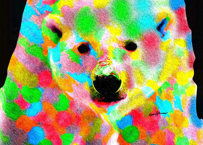 Animals Greeting Card featuring the painting Polychromatic Polar Bear by Anthony Caruso